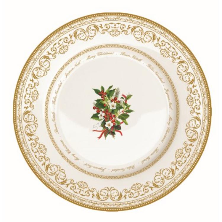 R2S.944HOLL Porcelán desszerttányér 19cm,Holly Christmas