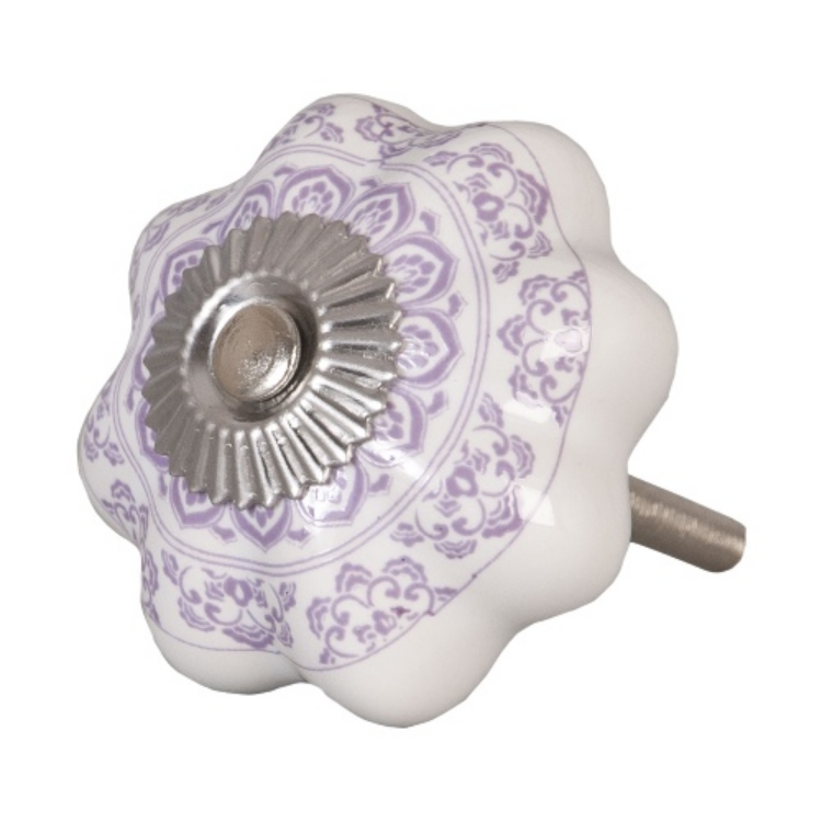 CLEEF.62339 Ajtófogantyú 4,5cm,fehér lila mintás