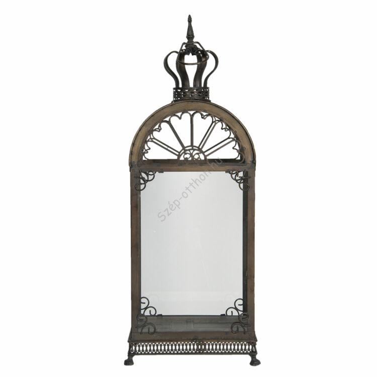 Fém/üveg lantern bronzos barna, 28x17x66cm
