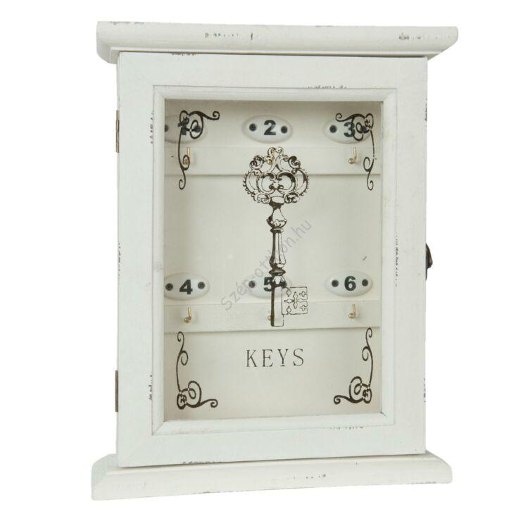 Clayre & Eef 6H0903 Fa kulcsos szekrény üveg ajtóval, 25x8x32 cm