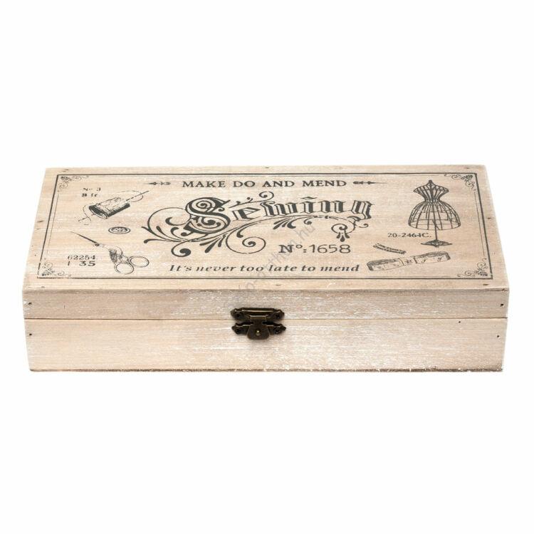 Clayre & Eef 6H1389 Fa varrós doboz 24x12x5cm, natúr színű