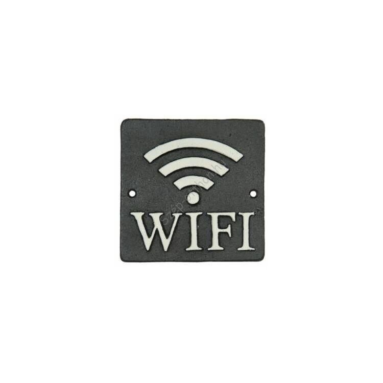 """Öntöttvas fali tábla 12x12cm, """"Wifi"""""""