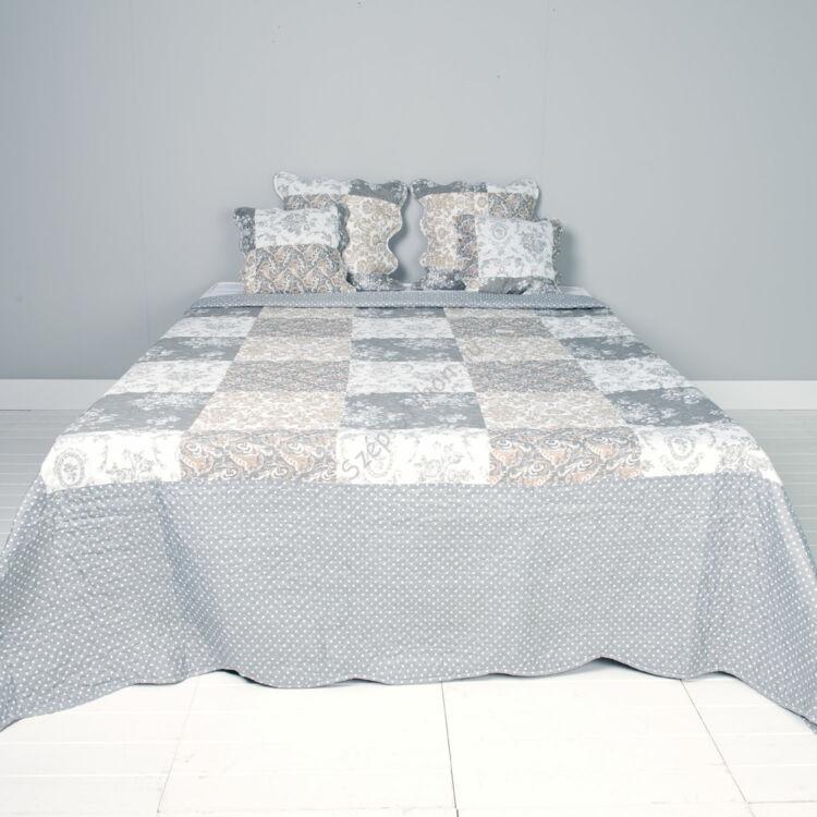 Clayre & Eef Q169.061 Steppelt ágytakaró 230x260cm, fehér szürke rózsás