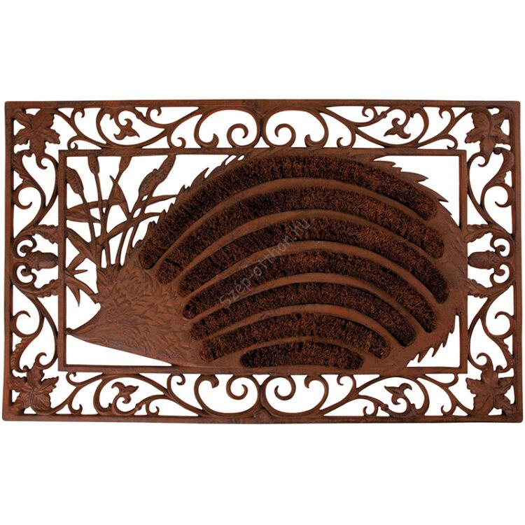 Öntöttvas lábtörlő, kókuszrost kefével, sün, 73 x 46 cm