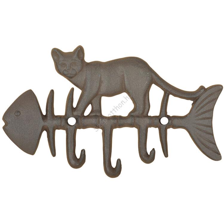 Öntöttvas cicás-halas hármas akasztó