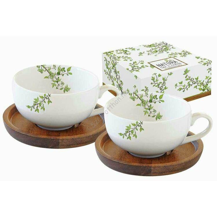 R2S.1081NTRA Porcelán kávéscsésze akácfa aljjal, 2 személyes 120ml, dobozban, Natura