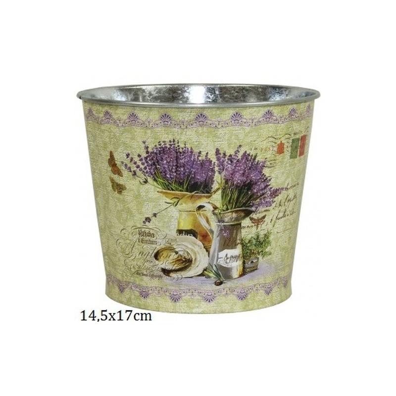 P.P.IM-A-101234 Fém virágkaspó levendulás 14,5x17cm