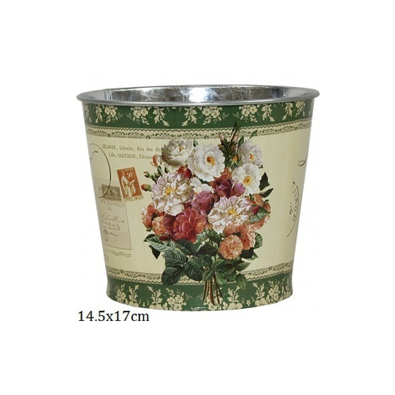 P.P.IM-A-101235 Fém virágkaspó, rózsacsokros 14,5x17cm