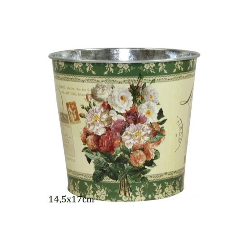 P.P.IM-A-101237 Fém virágkaspó, rózsacsokros 14x15cm