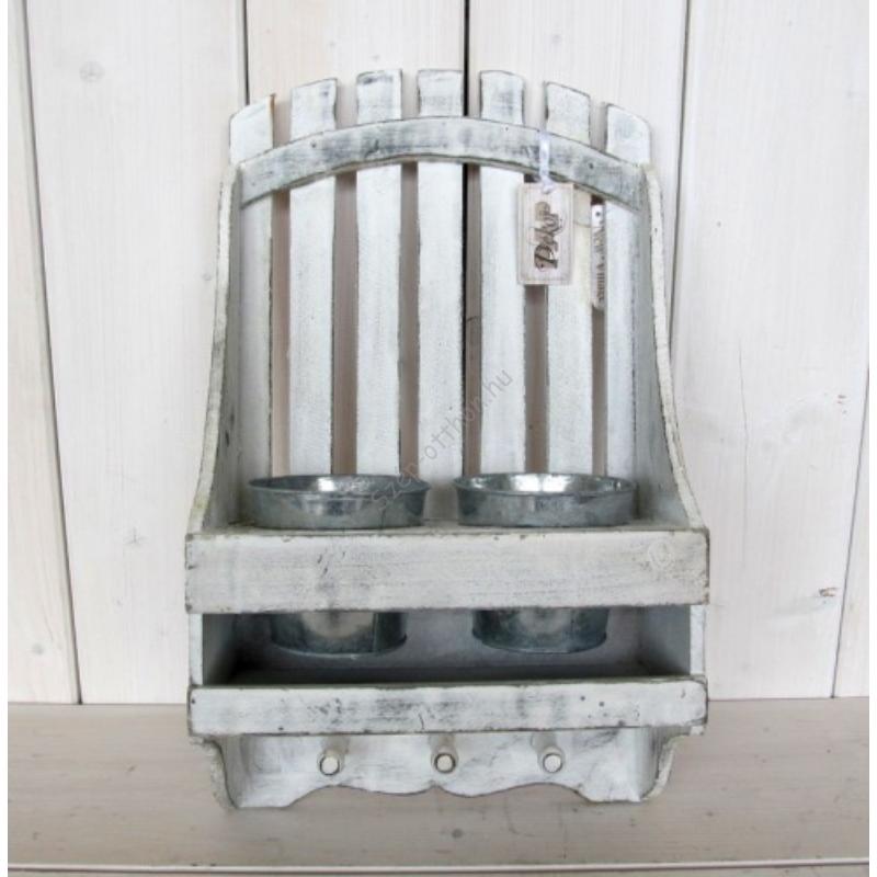D.P.EW0015 Fa fogas, fém dupla virágtartóval 46x12,5x27cm
