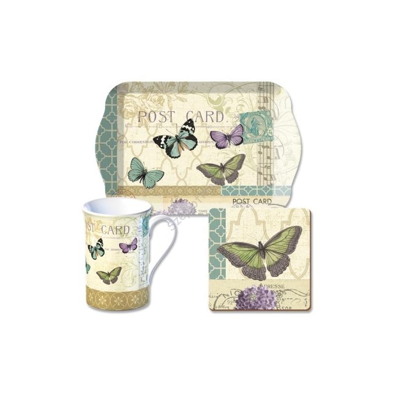 C.T.5124136 Time for Tea szett (tálca,bögre 235ml,parafa poháralátét) Postcard