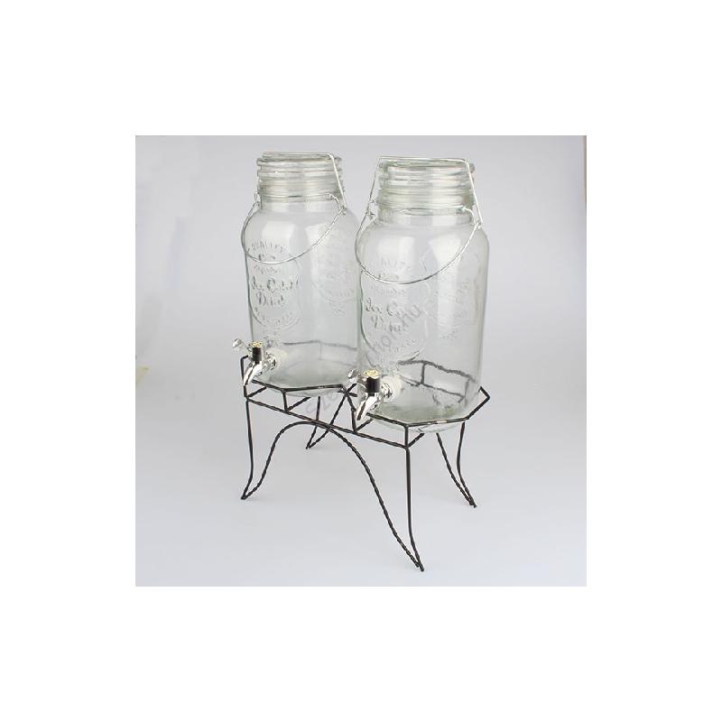 D.GS2345 Csapos üvegtároló szett 2x3l, fém állványon 31x45x16cm, Ice Cold Drink