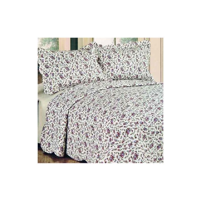 D.PR0118 Lila rózsás ágytakaró 230x250cm, 2db párnahuzattal 50x70cm