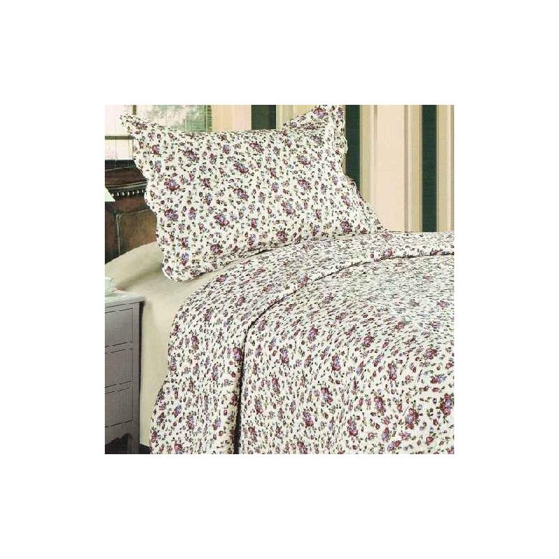 D.PR0119 Lila rózsás ágytakaró 140x200cm, 1db párnahuzattal 50x70cm
