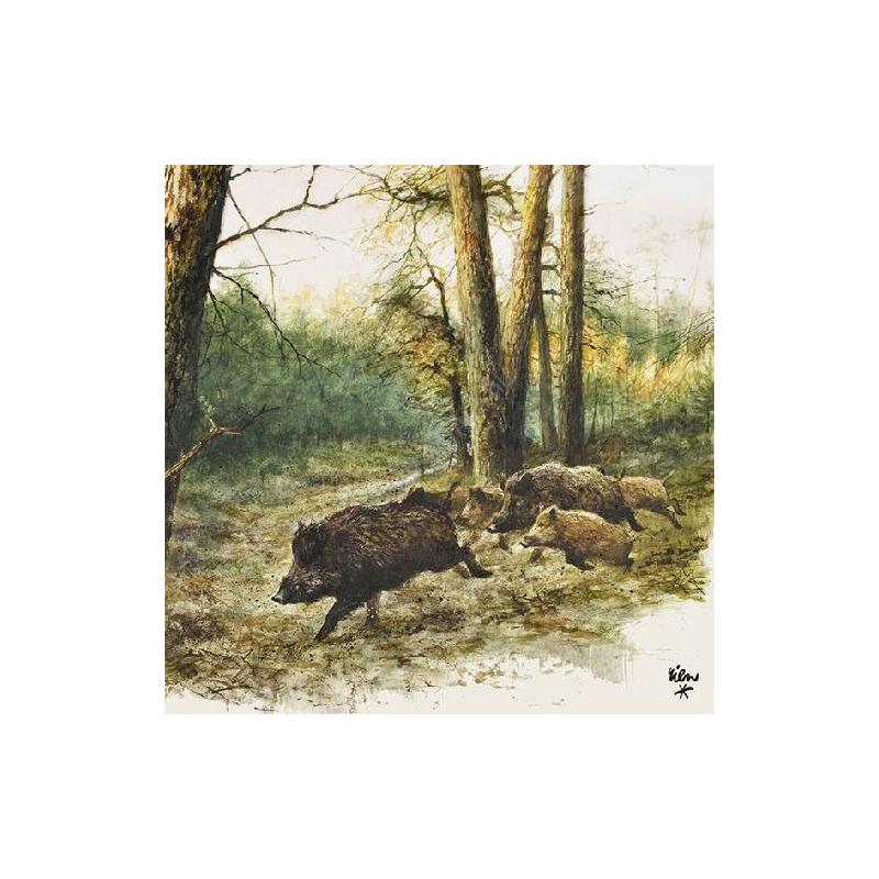 AMB.13311020 Wild Boars in the Woods papírszalvéta 33x33cm,20db-os
