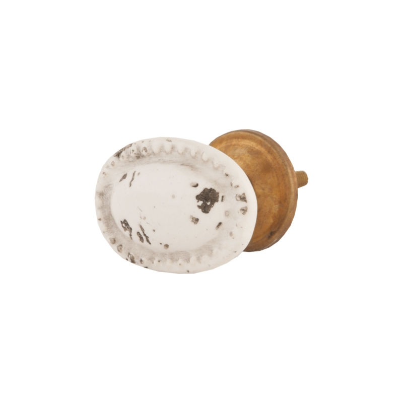 Clayre & Eef 61813 Ajtófogantyú 4 cm ovális,fehér színű antikolt