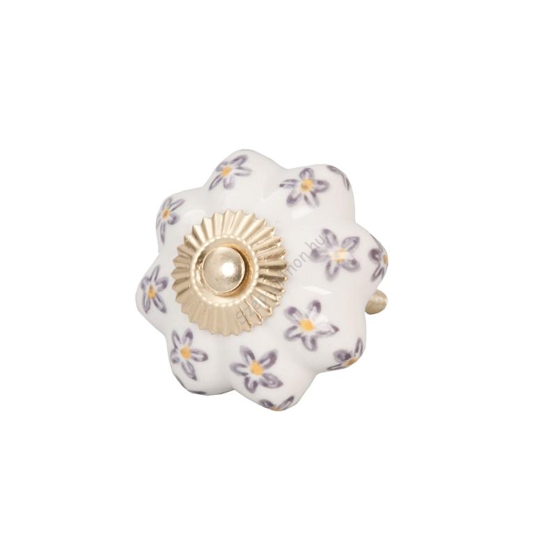 Clayre & Eef 61857 Ajtófogantyú 4,5cm, bordázott, világos szürke, bordó virágokkal, arany rátéttel