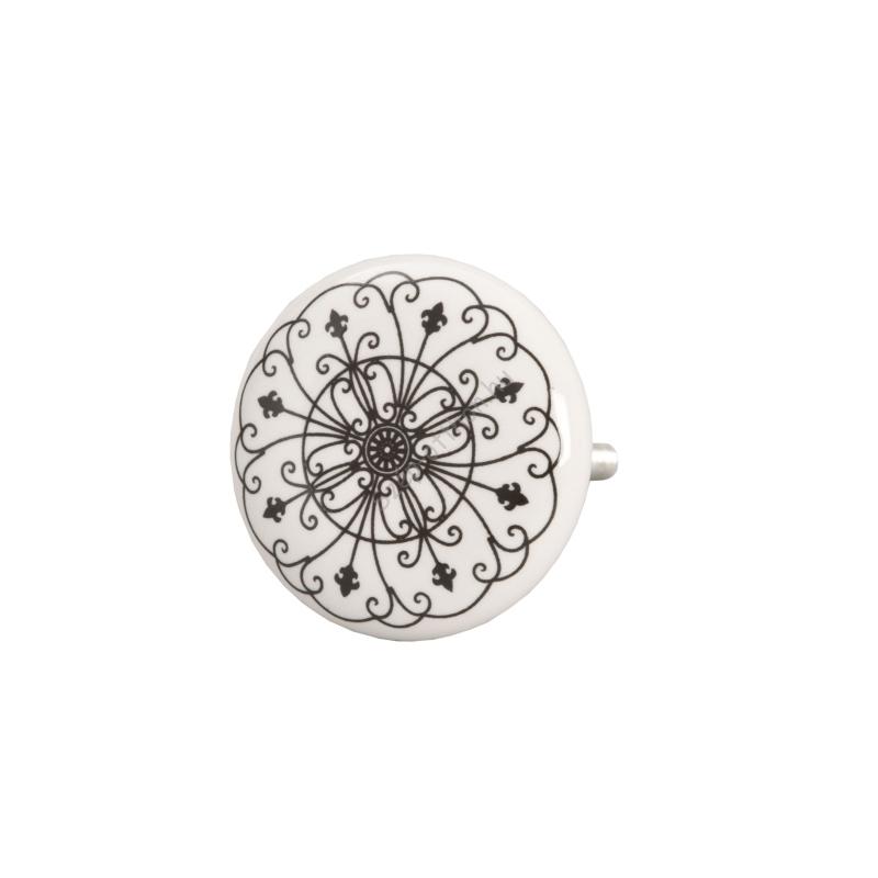 Clayre & Eef 61878 Ajtófogantyú 4cm, fehér fekete mintás