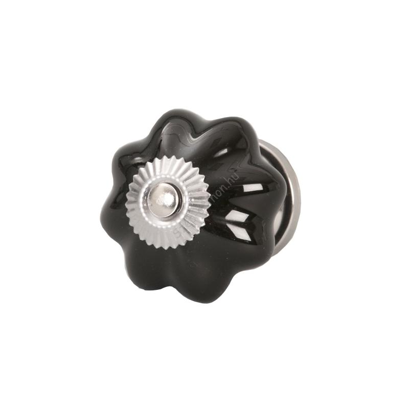 Clayre & Eef 61898 Ajtófogantyú 4,5cm, bordázott, fekete, ezüst rátéttel