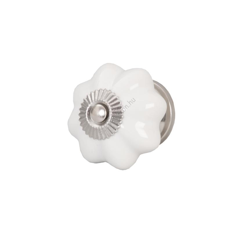 Clayre & Eef 61900 Ajtófogantyú 4,5cm,fehér-ezüst betéttel