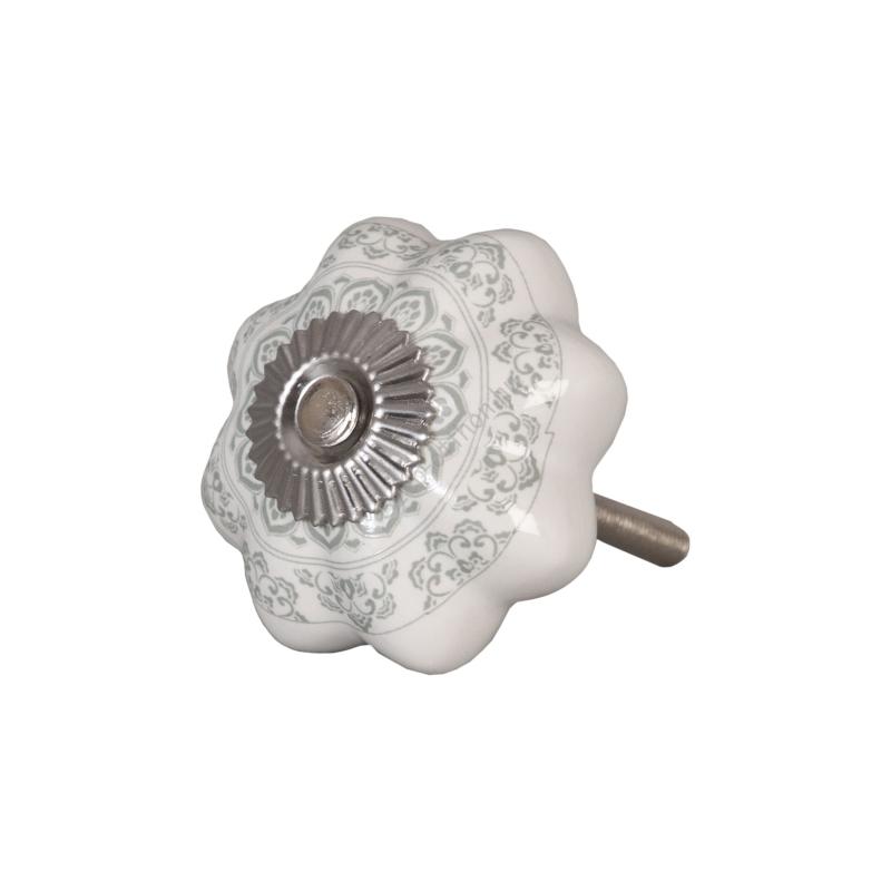 Clayre & Eef 62336 Ajtófogantyú 4,5cm, bordázott, fehér,világos szürke mintás, ezüst rátéttel