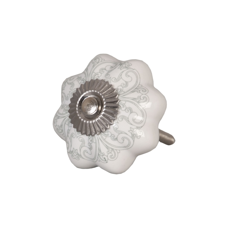 Clayre & Eef 62341 Ajtófogantyú 4,5x4,5cm,fehér szürke mintával