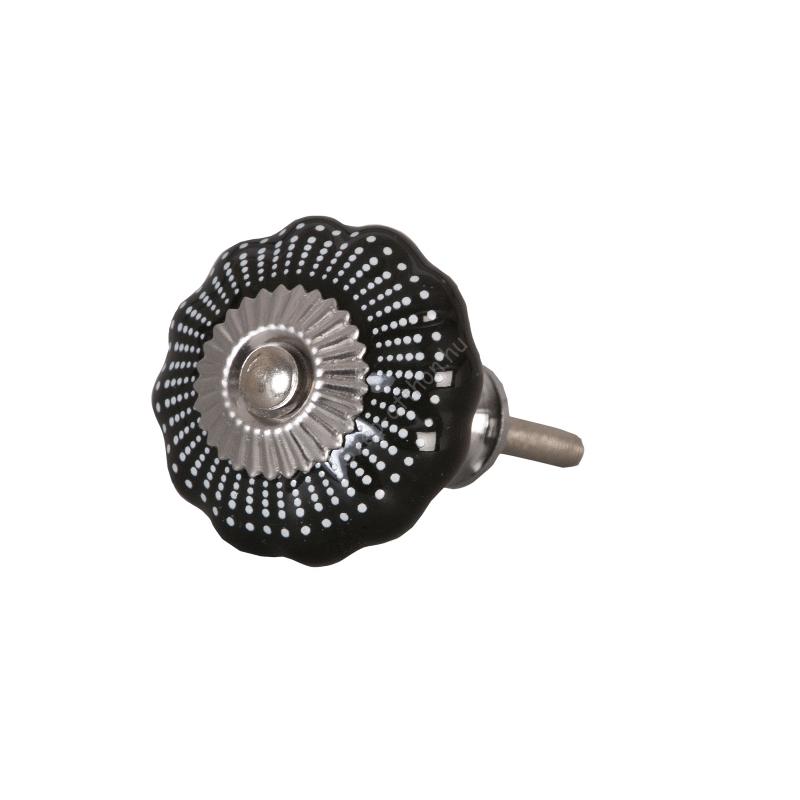 Clayre & Eef 62331 Ajtófogantyú 4 cm fekete fehér pöttyös,ezüst rátéttel