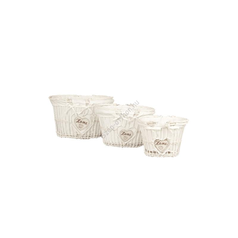 Clayre & Eef 6RO0243 Rattan kosár szett textil béléssel,fehér 43x33x25/35x27x22/27x21x19cm,Home