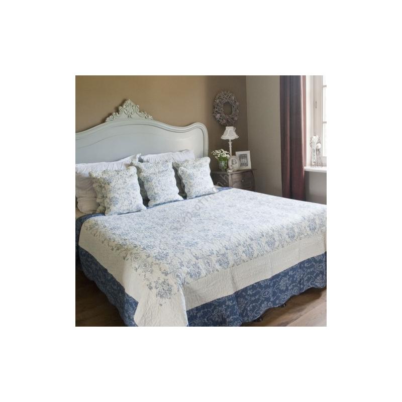 Clayre & Eef Q136.061 Steppelt ágytakaró 230x260cm,fehér kék virágos