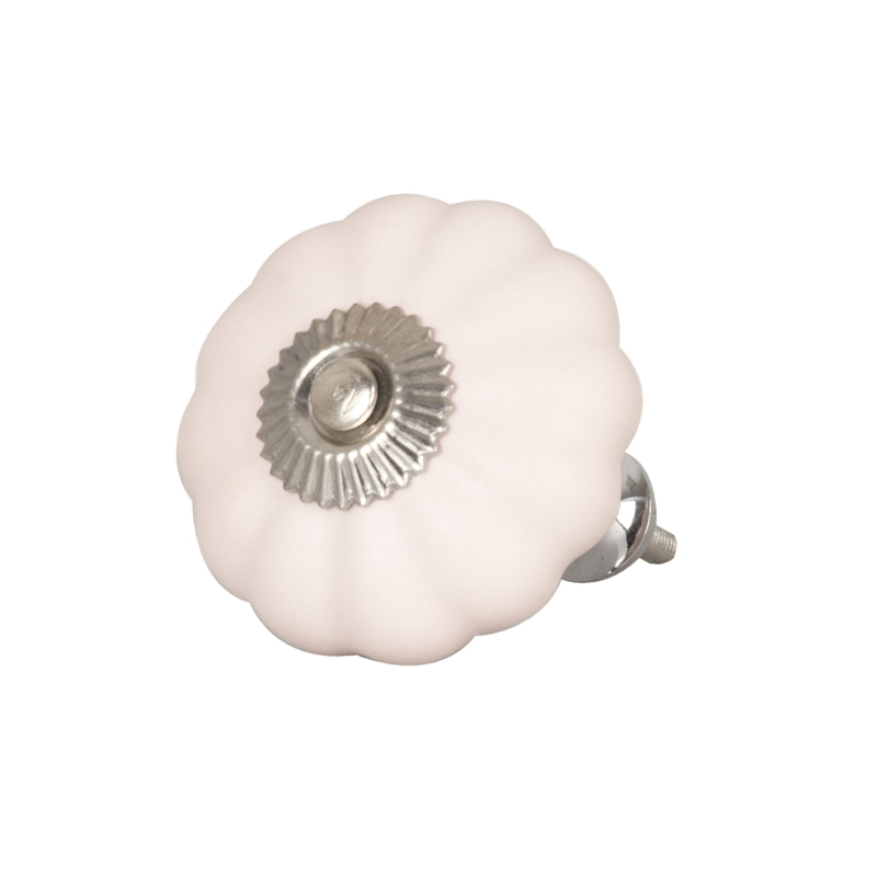 Clayre & Eef 62543 Ajtófogantyú 5cm, bordázott rózsaszín, ezüst rátéttel