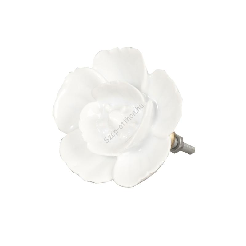 Clayre & Eef 62558 Ajtófogantyú 6cm, fehér rózsa