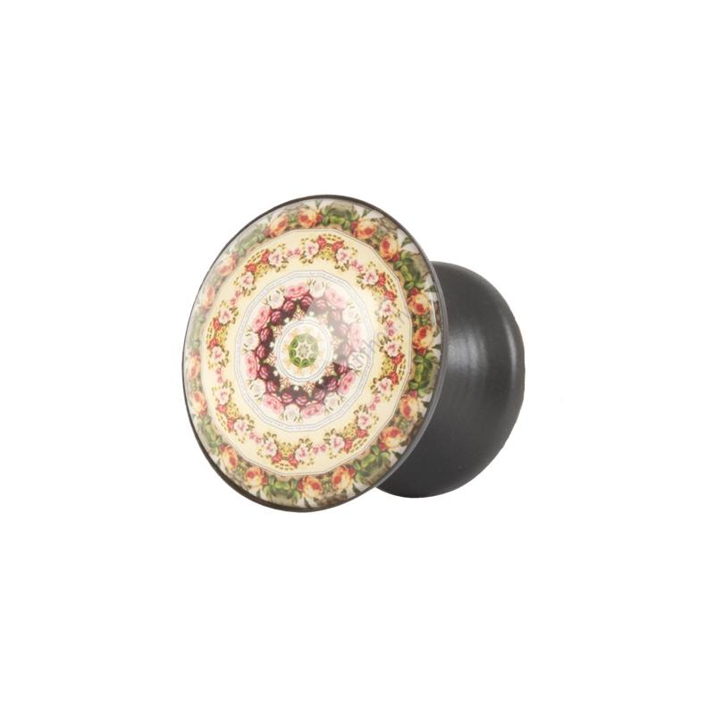 Clayre & Eef 62727 Műanyag ajtógomb 5cm,virágos