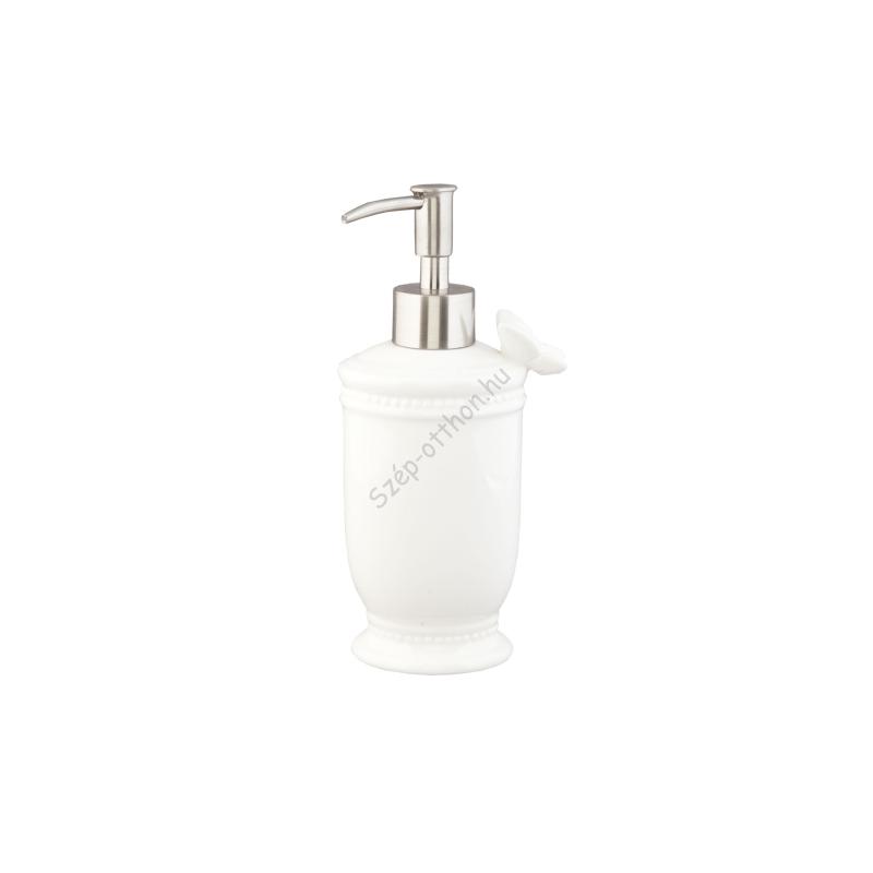 Clayre & Eef 62824 Folyékony szappantartó 9x19cm,fehér, lepkével