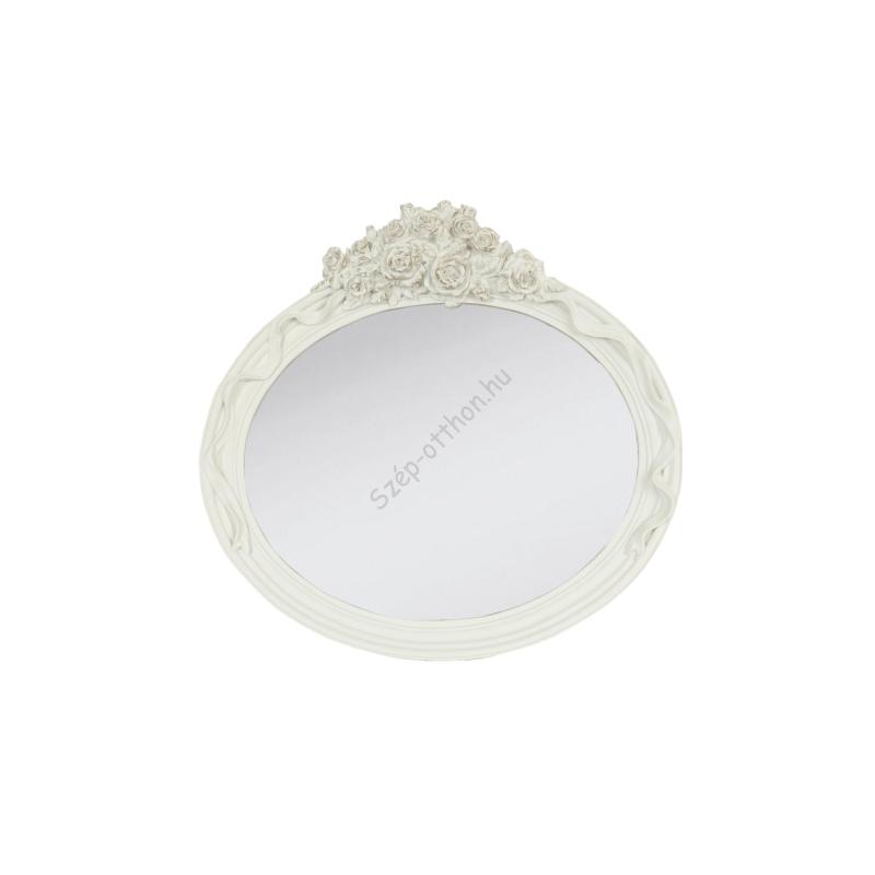 Clayre & Eef 62S056 Fali tükör ovál,fehér rózsa dekorral,30x29cm