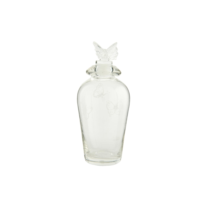 Clayre & Eef 6GL1426 Fürdőszobai üveg pillangós dugóval,7x17cm
