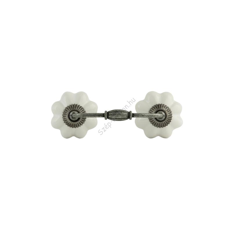 Clayre & Eef 62980 Ajtófogantyú szürke fém 12x4cm, porcelán virággal
