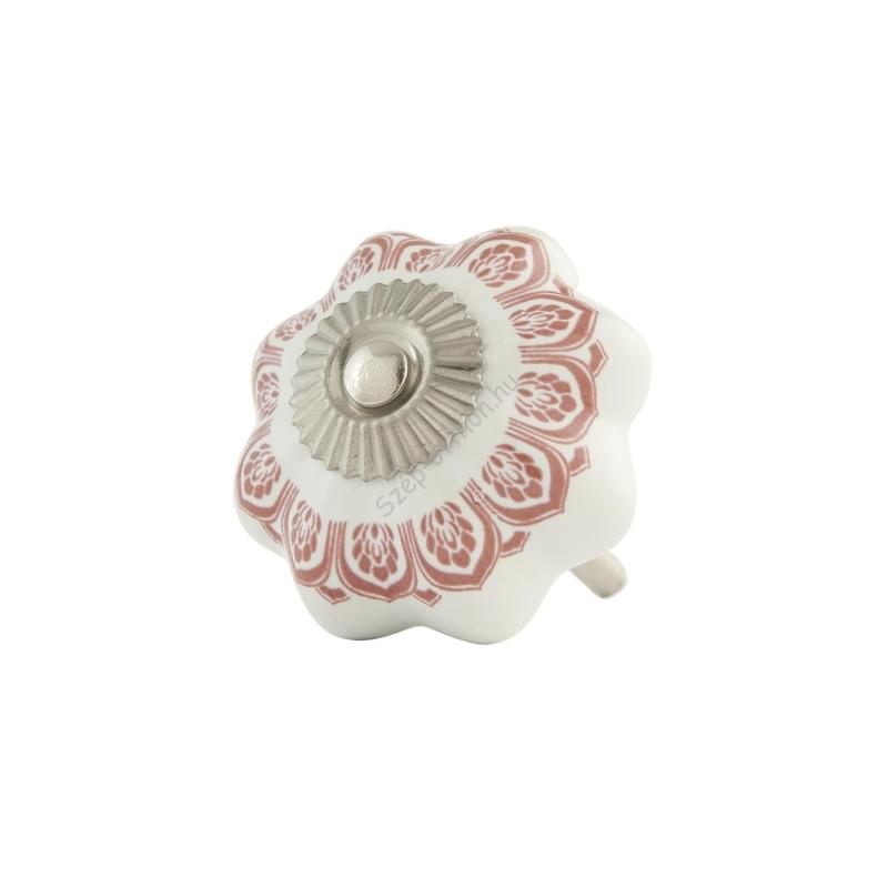 CLEEF.62987 Ajtófogantyú 4 cm,fehér-rózsaszín kerámia