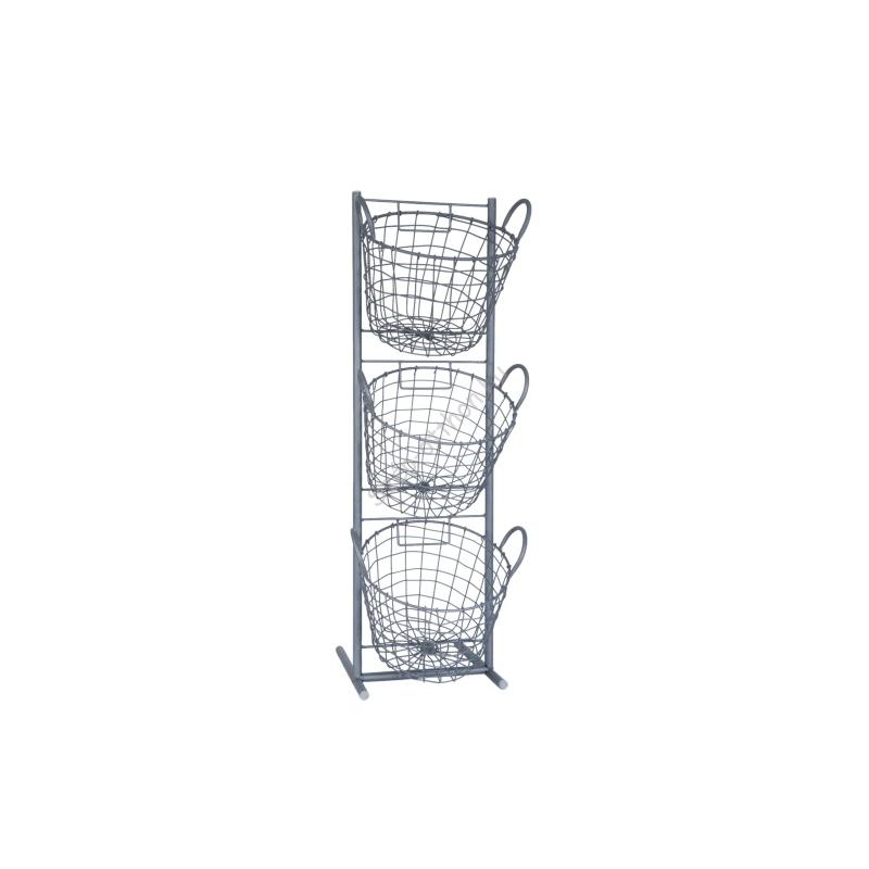 Clayre & Eef 5Y0202 Álló fém kosaras táróló 3-as 29x27x90cm,szürke