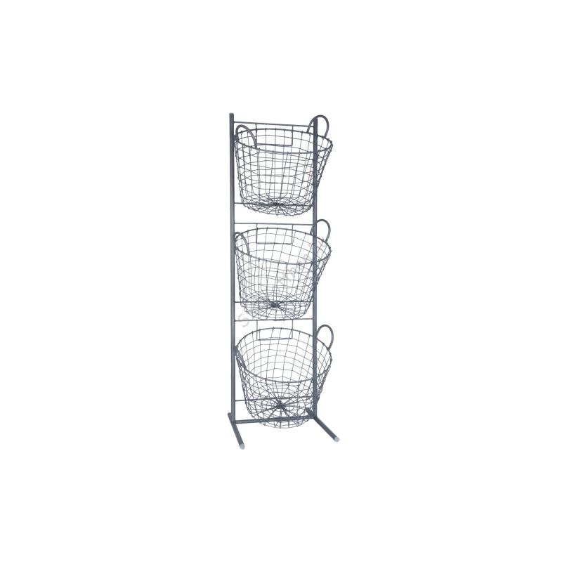 Clayre & Eef 5Y0203 Álló fém kosaras tároló 3-as 35x33x114cm, szürke