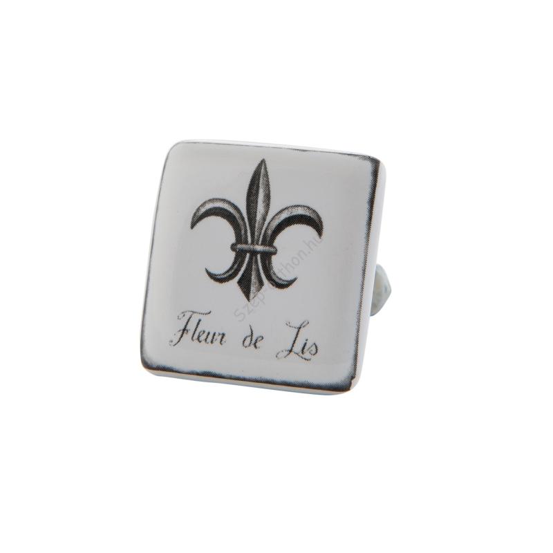 Clayre & Eef 63082 Ajtófogantyú 3,5x3,5cm,szögletes Fleur de Lis