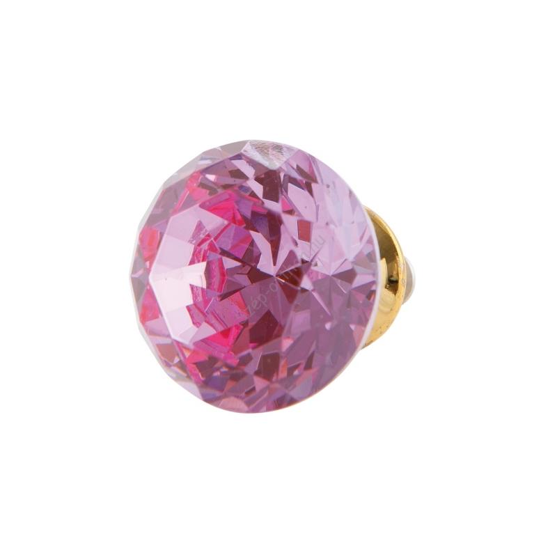 Clayre & Eef 63097 Ajtófogantyú 3cm üveg, rózsaszín