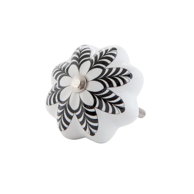 Clayre & Eef 63100 Ajtófogantyú 4 cm fehér,fekete mintával