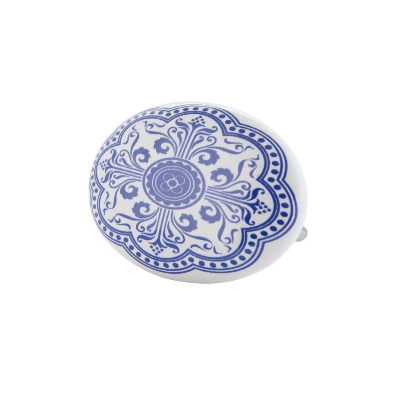 Clayre & Eef 63101 Ajtófogantyú 6x4cm, fehér kék mintás, ovál