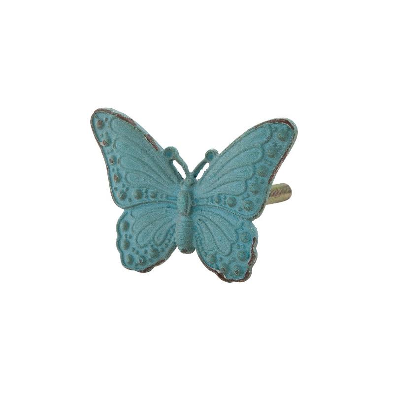 Clayre & Eef 63301 Ajtófogantyú fém 5x5cm,pillangó antikolt zöld