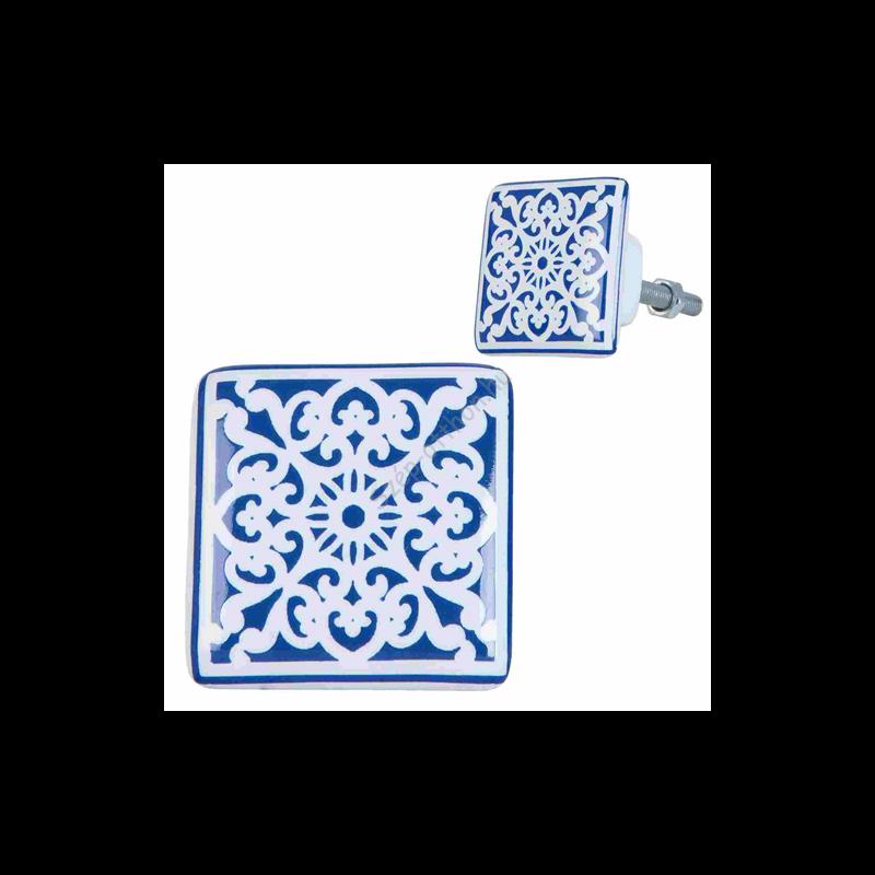 Clayre & Eef 63415 Ajtófogantyú porcelán 3x3cm, kék-fehér mintás