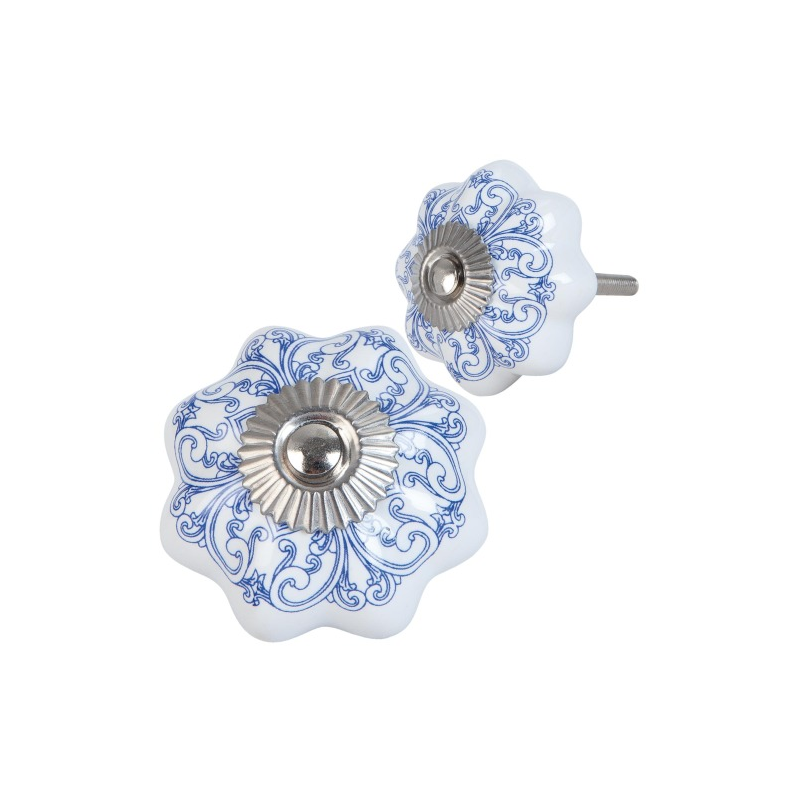 Clayre & Eef 63417 Ajtófogantyú 4x4cm, fehér lila mintával