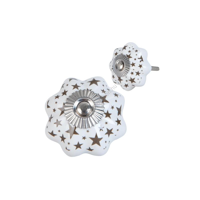 Clayre & Eef 63419 Ajtófogantyú porcelán 4x4cm,fehér csillag mintával