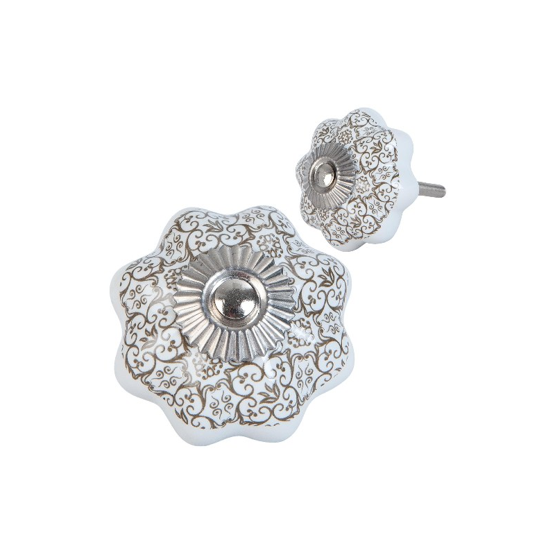 Clayre & Eef 63420 Ajtófogantyú porcelán 4x4cm,fehér barna mintával