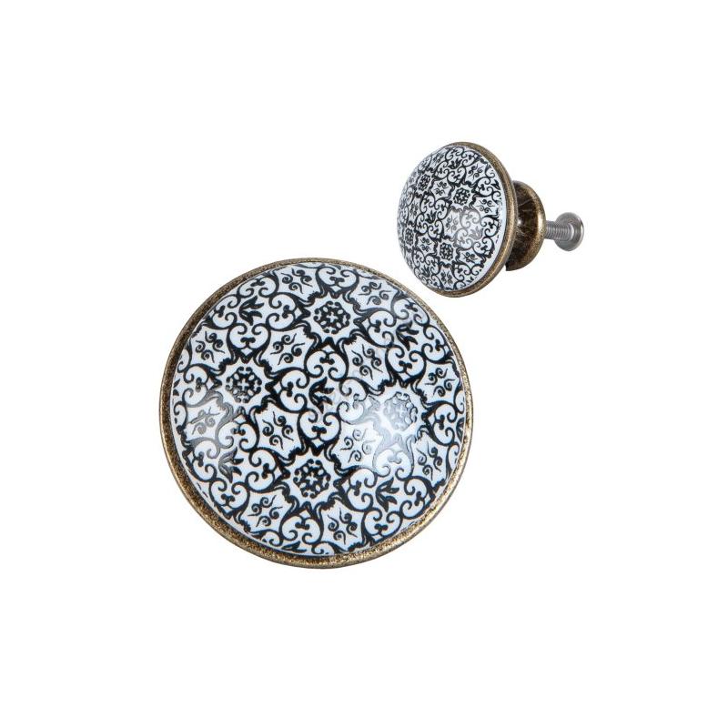 Clayre & Eef 63425 Ajtófogantyú 2cm, fehér-fekete mintás arany színű kerettel