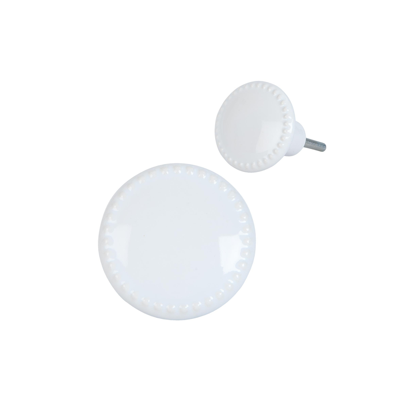 Clayre & Eef 63439 Ajtófogantyú porcelán kerek 4cm, fehér